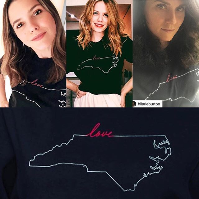 It's been extended! Get your To NC with Love t-shirt. Designed by Sophia, Hilarie and Danneel.  We LOVE them❤️❤️❤️ https://www.shopstands.com/products/danneel-ackles-sophia-bush-and-hilarie-burtons-love-nc-tees?variant=12503378329648
