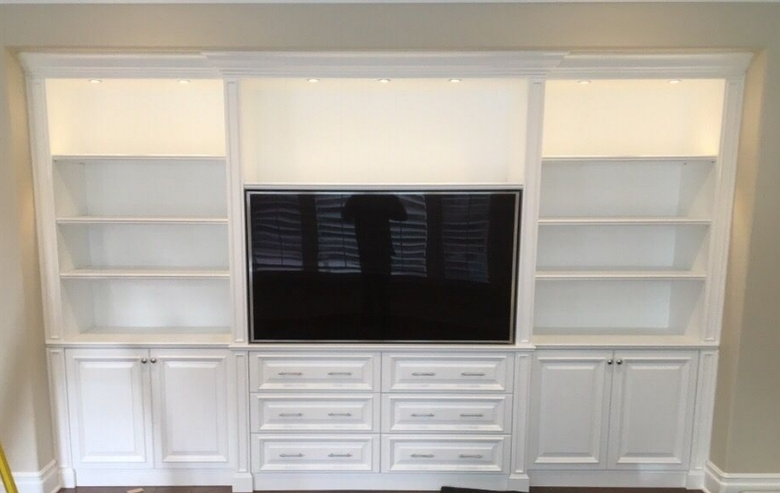 We hung the TV into this built-in cabinet.