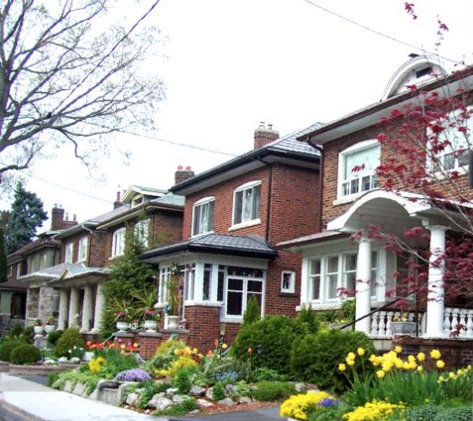 - Real EstateToronto's Bloor West Village is a popular and well-established neighbourhood, with homes being predominantly built in the early 1900's. Being an older neighbourhood, many gorgeous oak trees shade the neighbourhood streets that a lined with solid brick homes with spacious porches. The majority of properties have relatively spacious front yards, and feature wood detailing, fireplaces, and solid hardwood floors.