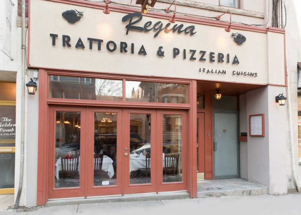 Regina Pizzeria and Trattoria - 782 College St, Toronto, ON M6G 1C6Located in the heart of Little-Italy, where = pizza joints abound, this pizzeria certainly stands out from the crowd. Serving up Southern Italian cuisine, Regina's is known for its home-made pizzas, pastas, and sandwiches, all fresh and made-to order.