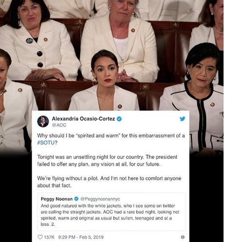 "congresswoman Alexandria Ocasio-Cortez defends herself against tweets that ridicule her for not looking ""spirted, warm and original as usual"" as Donald Trump gave the State of the Union address."