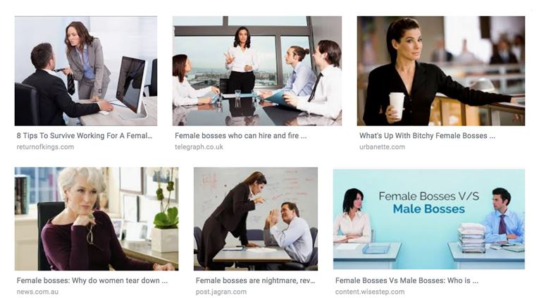 "Screenshot of the top six Google Image results for ""female bosses"" as of February 2019."