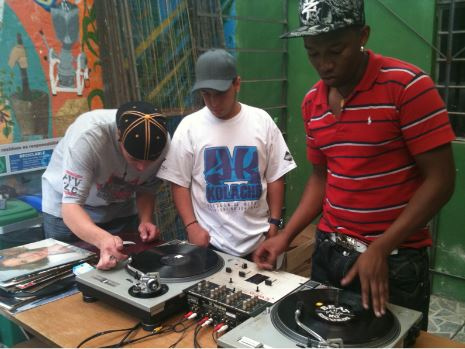 Members of youth-led hip hop collectives in Comuna 13, Medellín, Colombia. [Source: author]