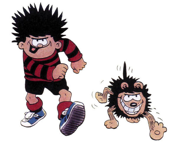 DENNIS THE MENACE AND GNASHER FROM  THE BEANO