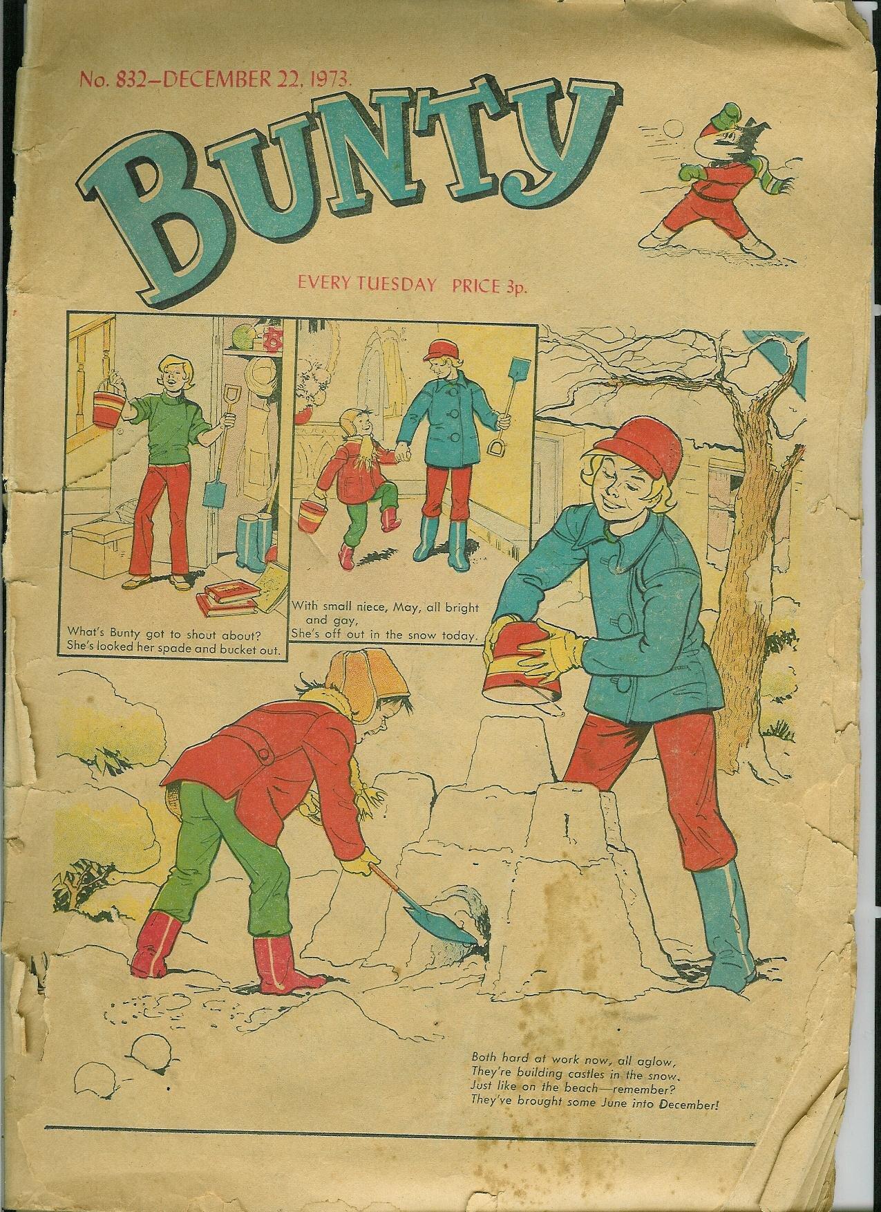 Bunty front cover ( Bunty , DC Thomson, 832, Dec. 22 1973, p. 1)