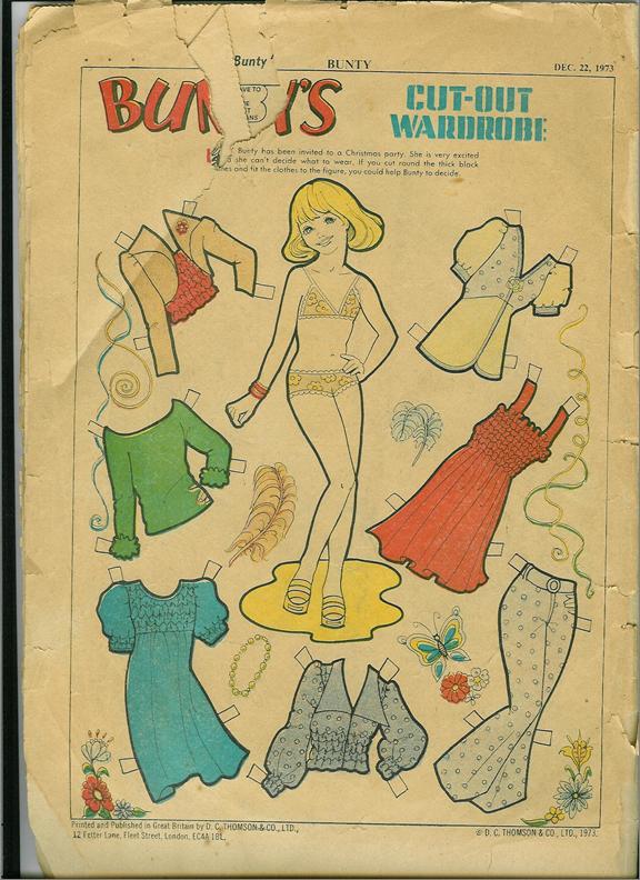 Bunty Cut out doll (Bunty, DC Thomson, 832, Dec. 22 1973, p. 32)