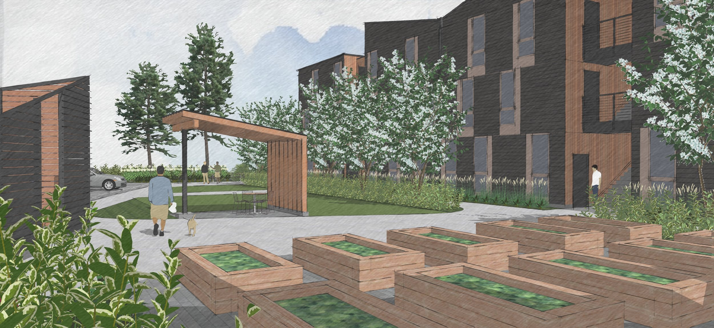 Progress rendering of the landscape design at The Elwood