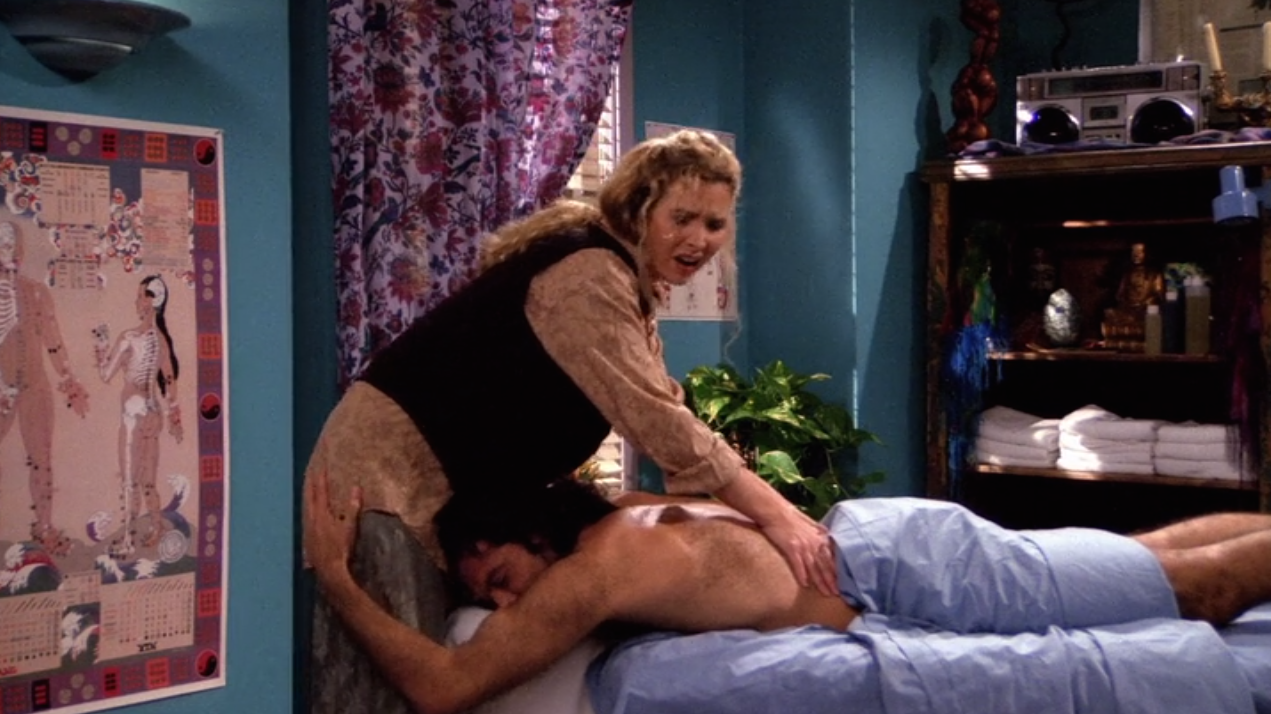 Yeah, this is the episode where Paolo's getting the massage from Phoebe before straight up groping her ass and pulling a Harvey Weinstein with the full frontal flash. If only it was 2018, Phoebe would have been a #MeToo hero. She could have easily quit being a masseuse and lived off the clout.