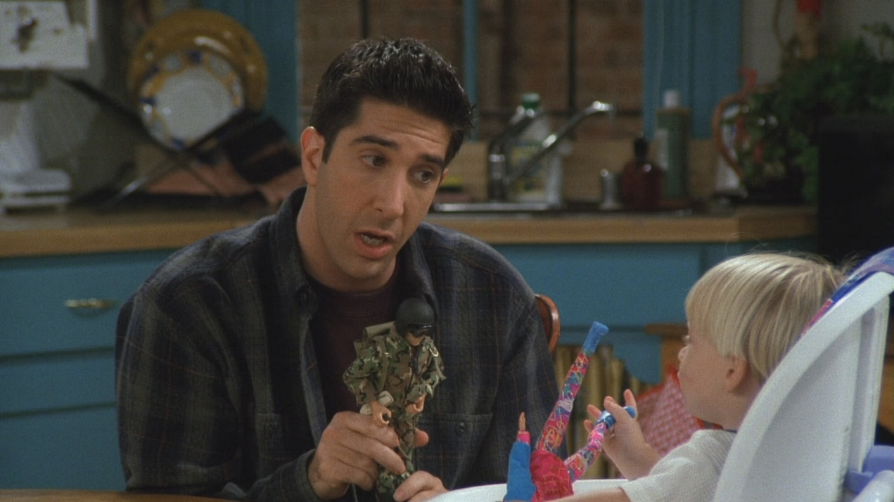 If there was ever a moment in the show that would really upset the PC culture of today it would be this episode. Ross's son would rather play with a Barbie over a GI Joe and Ross is freaking out. I can see the Op Ed's on the Washington Post now, 'ROSS GELLAR IS A BARBARIC HOMOPHOBE!'