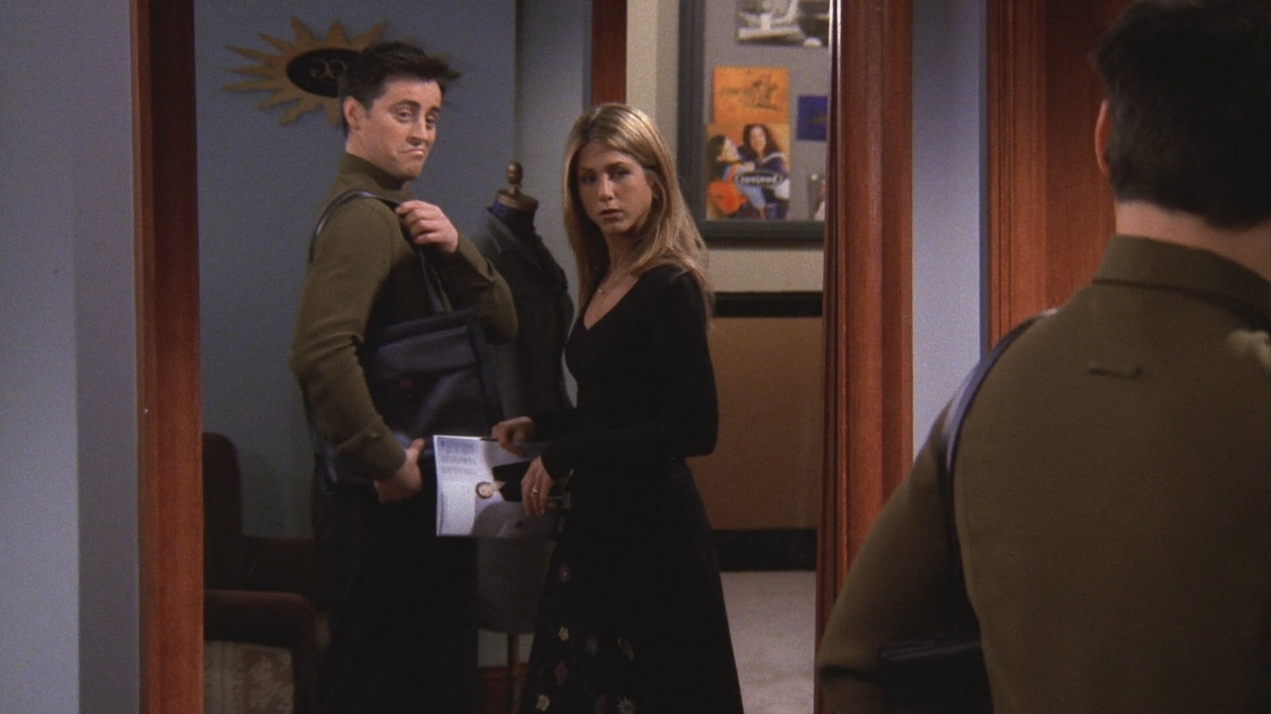 Joey finds great utility in a male purse that Rachel gives to him. Not only was he way ahead of his time in terms of hip-hop fashion, but the other guys constantly make fun of him and check his masculinity for it. I mean, Jesus. These are the moments that Social Justice Warriors pray for.