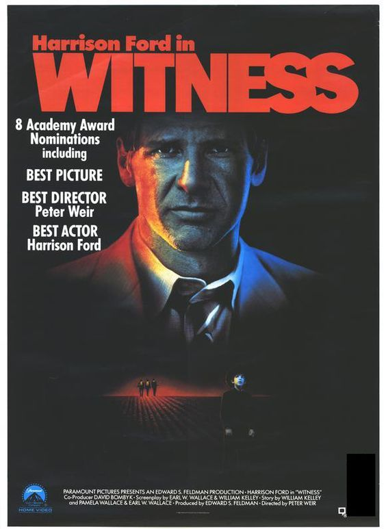 Day 9: Witness  - Australian director Peter Weir directs Harrison Ford in this jarring 80's thriller about a hard-nosed cop (Ford) who is forced protect a young amish boy and his mother after the young boy witnessed a murder at a train station.