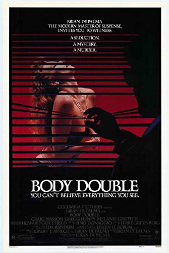 Day 15: Body Double   - Body Double  might be the most fun film in Brian De Palma's lengthy filmography. This modern melding of Hitchcock's  Rear Window  and  Vertigo  creates an original story about a voyeur who witnesses a murder in his neighbor's window… I've watched this film 3 times this week alone.  *FILM OF THE WEEK