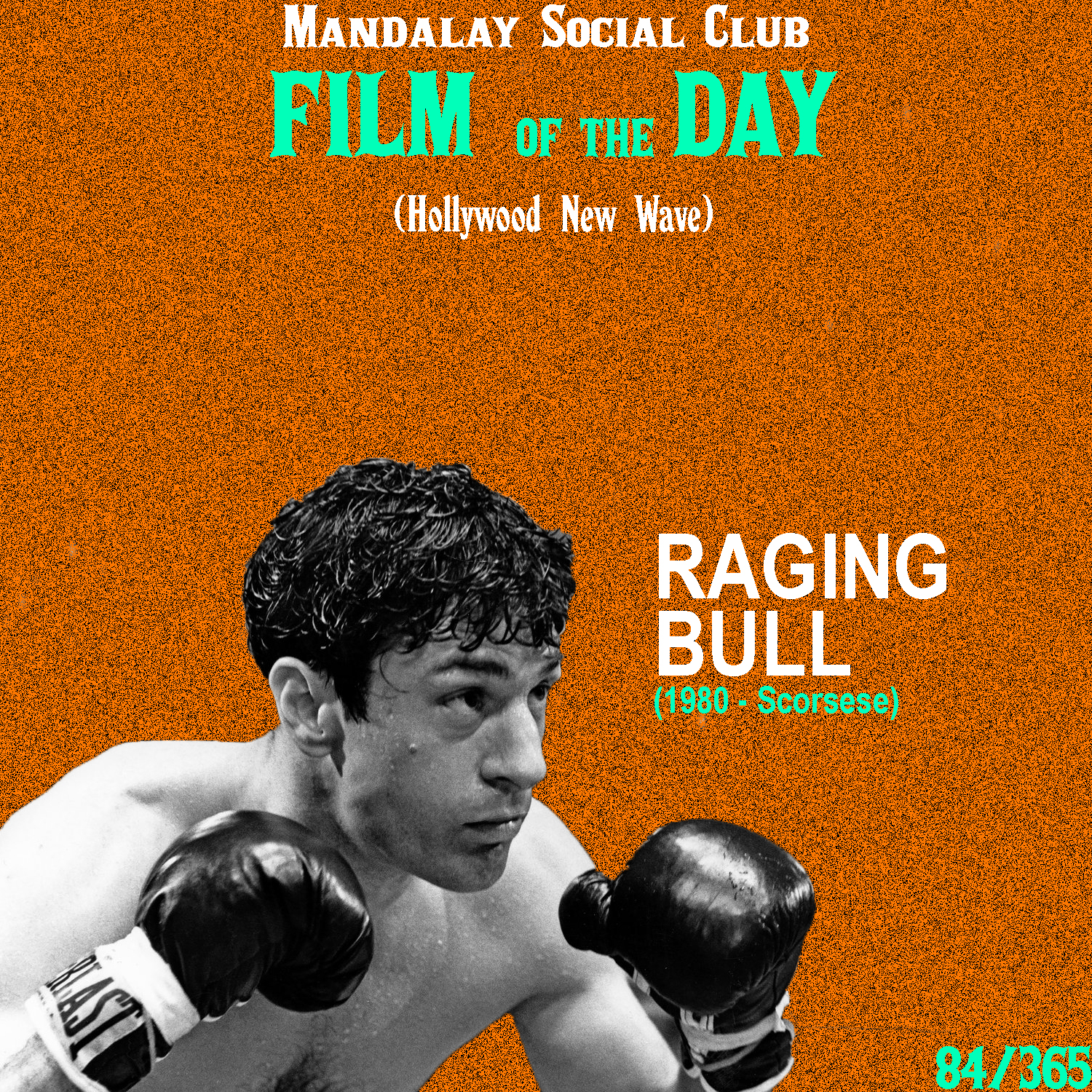 Raging Bull     (dir. Martin Scorsese)   Martin Scorsese is an all time favorite of the 'Hollywood Brats' and consistently makes some of the most important films, decade after decade.   Raging Bull  is an in-depth character study on champion, middle-weight boxer Jake LaMotta and Scorsese favorite, Robert DeNiro plays the role of LaMotta. Where  Taxi Driver  acted as a character study on Travis Bickle, it only studied him over the course of a few months whereas with  Raging Bull,  we span across 20 years of LaMotta's life .   Scorsese's flair behind the camera is a definitive staple of the New Hollywood. The New Hollywood placed an emphasis on the auteur theory, taken from the French New Wave, and Scorsese is one of the most idiosyncratic filmmakers to come out of this generation. His encyclopedic knowledge of film history and theory allows him to constantly keep the viewer's attention and when you see a Scorsese film, you know it's a Scorsese film.    4/5     WATCH: iTunes