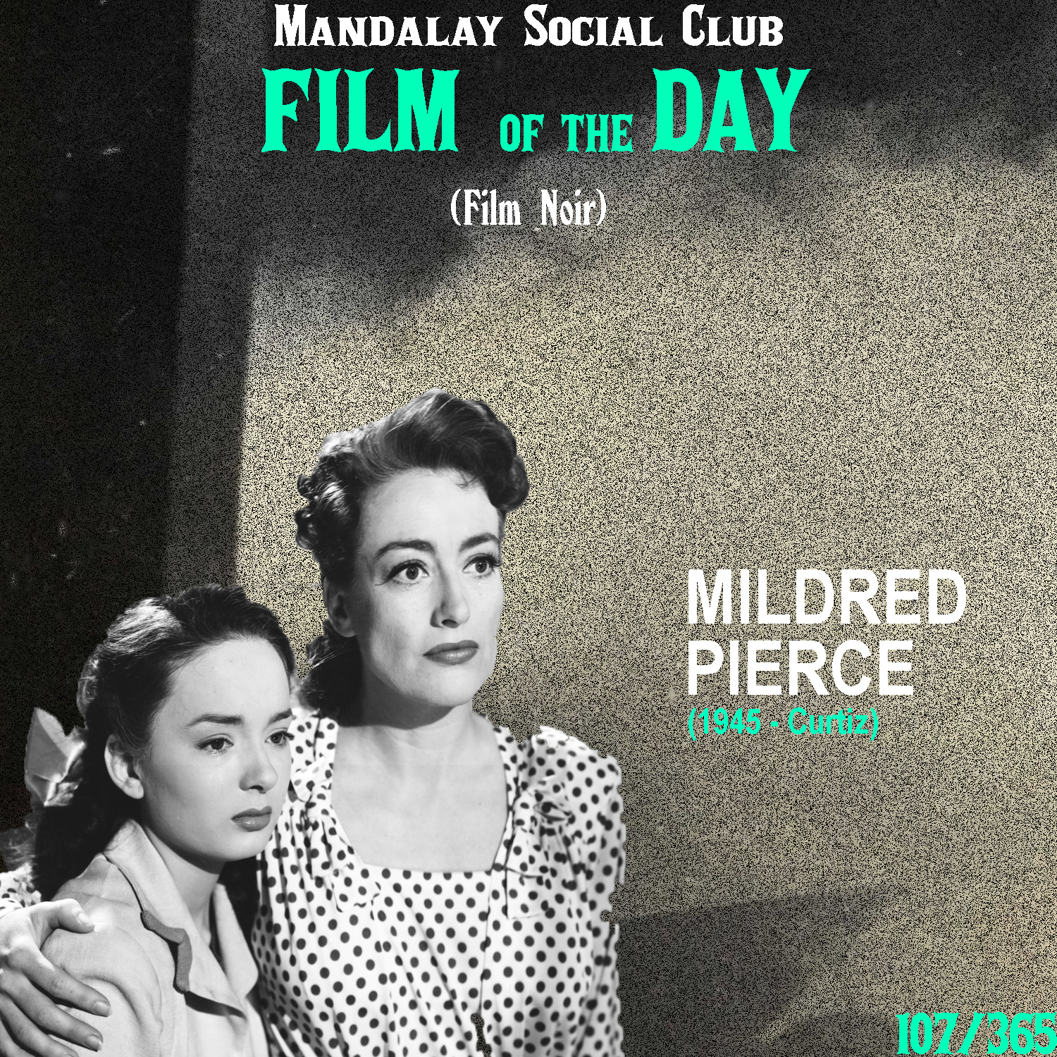 MILDRED PIERCE     (dir. Michael Curtiz)   From the director that brought us  Casablanca , Michael Curtiz orchestrates one of the most moving film noirs of the era with  Mildred Pierce !   Mildred Pierce  is a more unconventional noir, in that it doesn't follow the traditional route of following a man living in a life of crime. Instead, it stars Joan Crawford as the title character. She's a hardworking woman who, after leaving her husband, is forced to work as a waitress. She works hard and make good money, but she has to keep this 'working class' job a secret from her snobby and boujee daughter who demands only the finest things. Mildred eventually meets the son of a wealthy family who she marries to help give her daughter the high class life she yearns for. However, things don't go as planned when her new husband ends up dead and Mildred is the one being questioned.   Mildred Pierce  is more of a crime drama with hints of noir, then a straight forward film noir. However, it's use of black and white photography with the cynical undertones of the film give it the raging atmospheric noir mood that's found in any great nori of the 40s and 50s!   4.5/5    WATCH: Criterion Channel