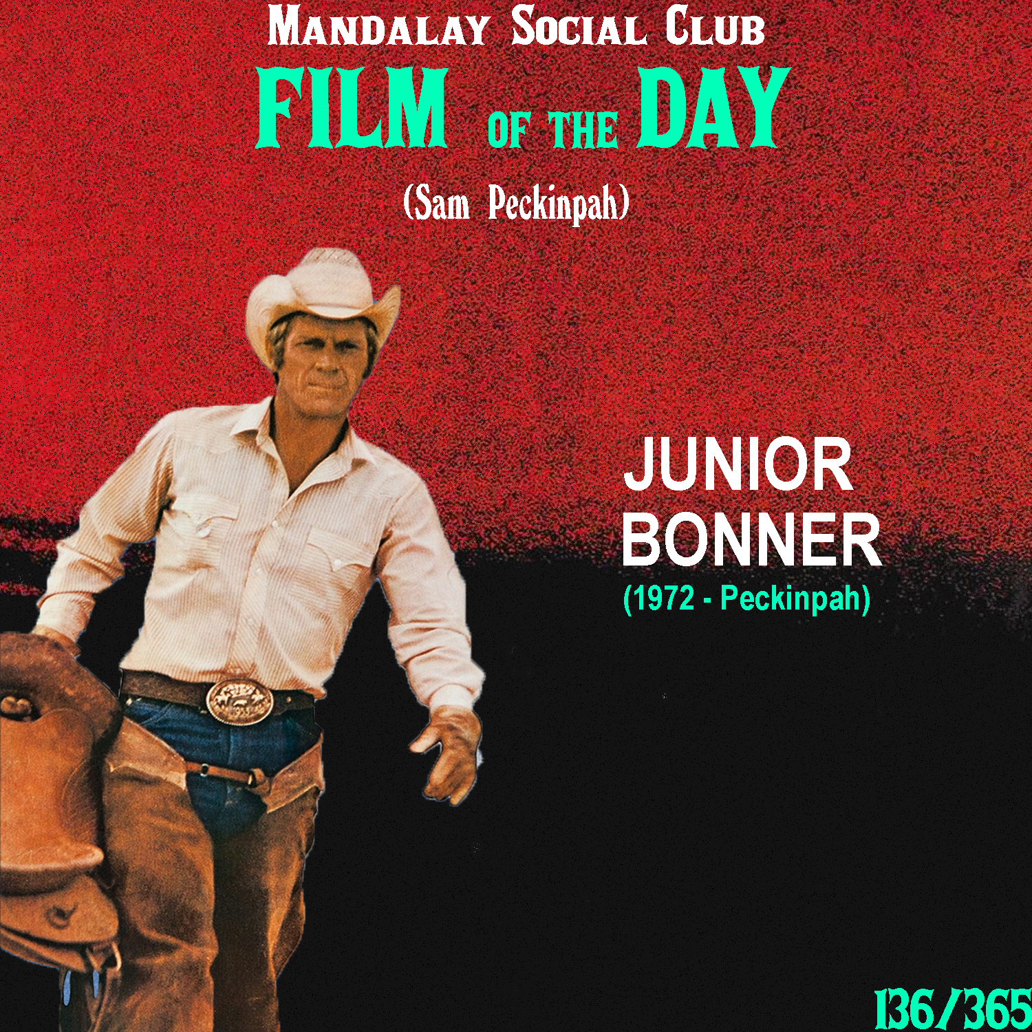 JUNIOR BONNER     (dir. Sam Peckinpah)   Now, if we hadn't have already discussed  Straw Dogs  during out 70's British Cinema series, we would have placed it right here in our Peckinpah retrospective. However,  Junior Bonner  started production just weeks after Sam Peckinpah finished  Straw Dogs , so we figure this is a good substitute for this spot in the list.   Junior Bonner  follows Steve McQueen as JR Bonner, a bull rider. He's been away for sometime, but he returns back to his hometown of Prescott, AZ to re-connect with his family and compete in the annual Independence Day Rodeo.   Junior Bonner  deserves to be on this list for a few reasons. For one, like  Cable Hogue , it shows Peckinpah in an arena that isn't predicated by it's violence. It also shows Steve McQueen in one of his best performance. Unfortunately, this film has nowhere near the excitement or intrigue of any of Peckinpah's other films that I've seen. Peckinpah approached this film with the intent of creating something that didn't rely on violence and he does a great job of directing the film, but it didn't have the comedy or intrigue that  The Ballad of Cable Hogue  had to rely on in place of violence. Unfortunately in this case, the story itself does absolutely nothing for me. I don't think it would matter who directed this, it wouldn't have been a W anyway.    2.5/5     WATCH: YouTube (FREE)