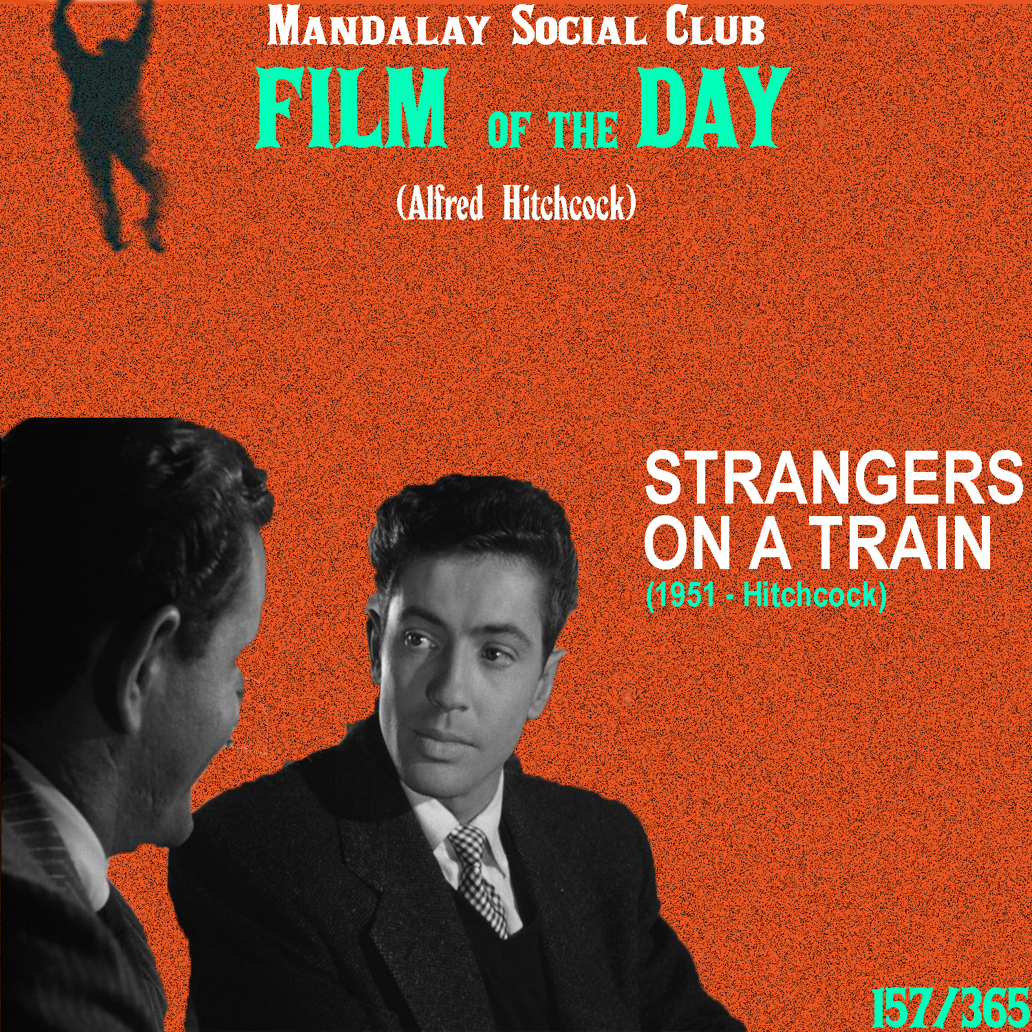 STRANGERS ON A TRAIN     (dir. Alfred Hitchcock)    Strangers on a Train  kickstarted the peak decade of Hitchcock's career and helped garner a newfound respect and interest in Hitchcock's work.  Farley Granger stars as tennis star Guy, who meets Bruno, a wealthy young man that happens to cross paths with Guy one day on the train. Their conversation reveals that each of them want one person out of their life. For Guy, it's his uncooperative wife who refuses to sign for divorce, and for Bruno it's his demanding father. Bruno, a true psychopath, suggests to Guy that they should swap each other's murders: Guy should kill Bruno's father and Bruno should kill Guy's wife. Bruno, obviously finding the idea ridiculous, humors the dangerously insane Bruno as he leaves the train. However, Bruno takes this humoring completely serious and kills Guy's wife. Now, he forces the respectable Guy to perform the same heinous crime of murder.   Strangers on a Train  is one of Hitchcock's most memorable films and as I stated earlier, it opened up the doors to the most profound decade of the filmmaker's career.    4/5     WATCH: Netflix (FREE), iTunes (RENT)