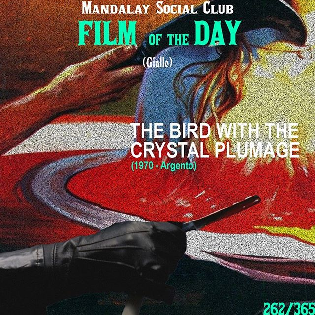 Day 262/365: The Bird with the Crystal Plumage (Dir. Dario Argento) - 1970 🇮🇹 —- Dario Argento, the other resident Giallo master alongside Bava, brought the Giallo genre to the mainstream with his debut film The Bird with the Crystal Plumage! —- SWIPE ➡️ to see our favorite scene from The Bird with the Crystal Plumage! —- Sam, an American writer living in Rome with his girlfriend, witnesses an attempted murder in an art gallery. Sam becomes a key witness in the investigation, forcing him to stay in Italy where he might end up becoming the killer's next victim!