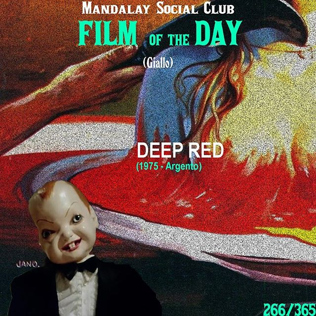 Day 266/365: Deep Red (Dir. Dario Argento) - 1975 🇮🇹 —- Deep Red is endlessly cited as the quintessential gialli and shows Dario Argento entering the peak of his career with this twisted gialli mystery. —- SWIPE ➡️ to see our favorite scene from Deep Red! —- David Hemmings (Blow Up) stars as Marcus, a jazz pianist living in Rome. As he wanders back home one night, he witnesses the murder of a medium in the window. When he runs up and feels like the crime scene has been messed with, Marcus decides to investigate. However, what he discovers involves him in a twisted web of paranoia and murder.