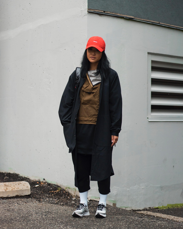 Cozy Tech. - Photos by @mike_sundayOUTFIT DETAILS:Hat: NikeLab x Off/White (purchased at pop-up in NYC) (2017)Vest: NikeLab AAE 1.0 Men's Gilet (2017)Shirt: Nike Women's Tech Fleece Dress (2015?)Bottoms: Nike Women's Tech Fleece Trousers (2016)Jacket: Jordan x Public School Long Bomber (2017)Backpack: Supreme (2017)Socks: Jordan (2017)Sneakers: NikeLab Zoom Fly SP
