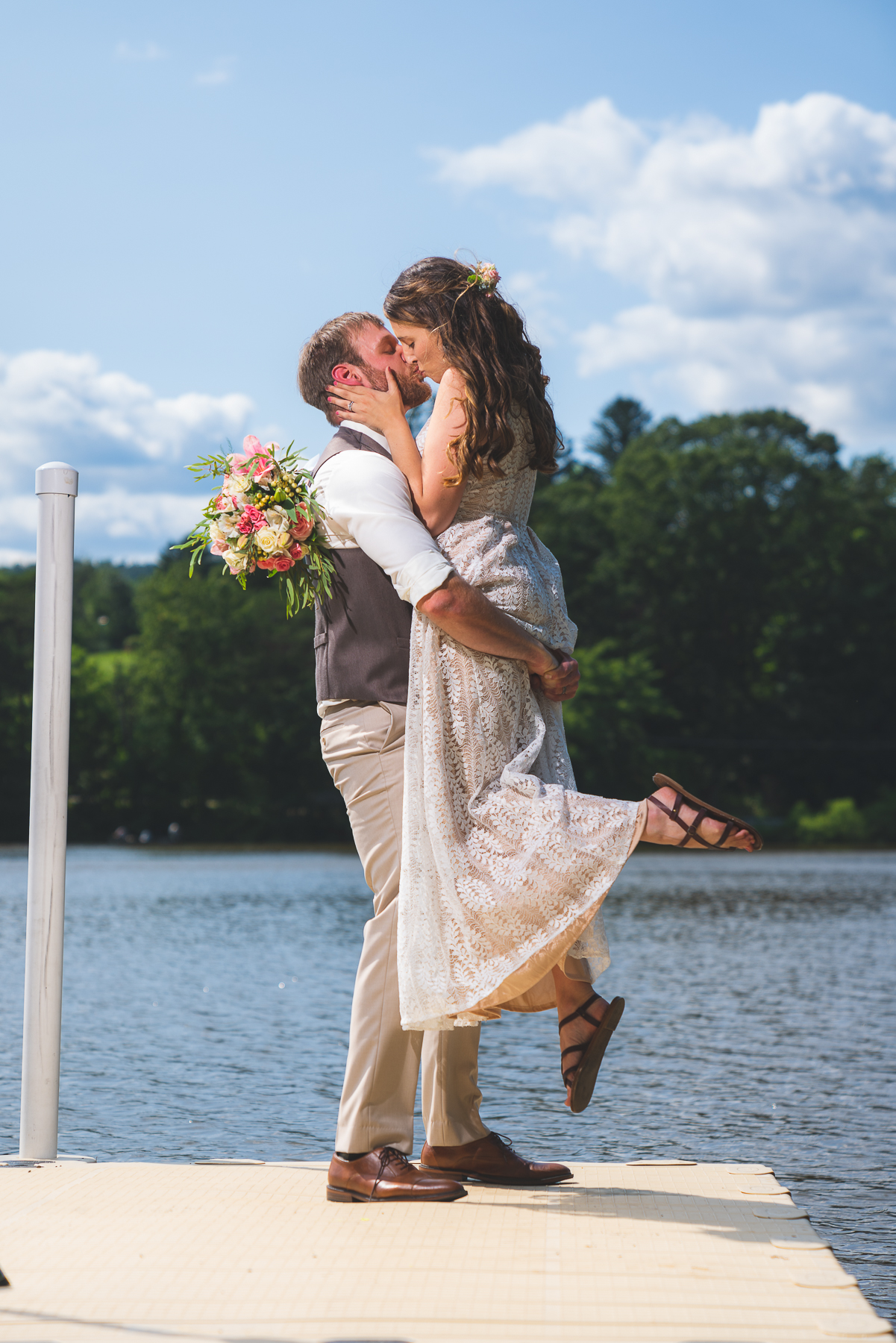 Another stunning photo of the Bride & Groom at Sweet Arrow Lake County Park, Pine Grove, PA