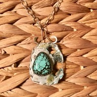 Turquoise and Keum Boo Pendant