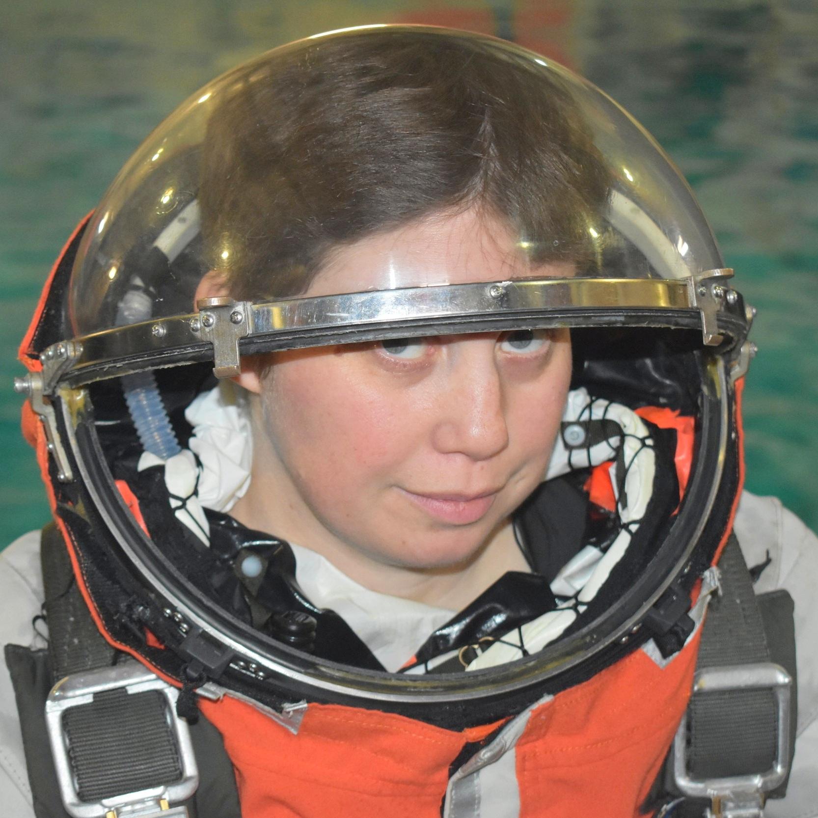 Megan Kane in a  Final Frontier Design  Spacesuit, photo by  @adastraaimee