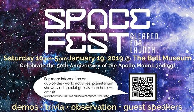 Come and celebrate the 50th Anniversary of the Apollo Moon Landing with the @bellmuseum this Saturday! Enjoy out-of-this-world activities and speakers!
