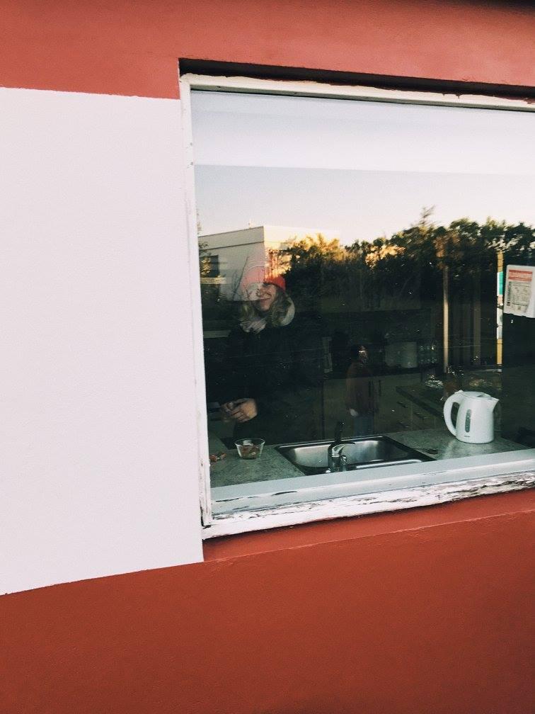 Producer Courtney Harmstone makes tea