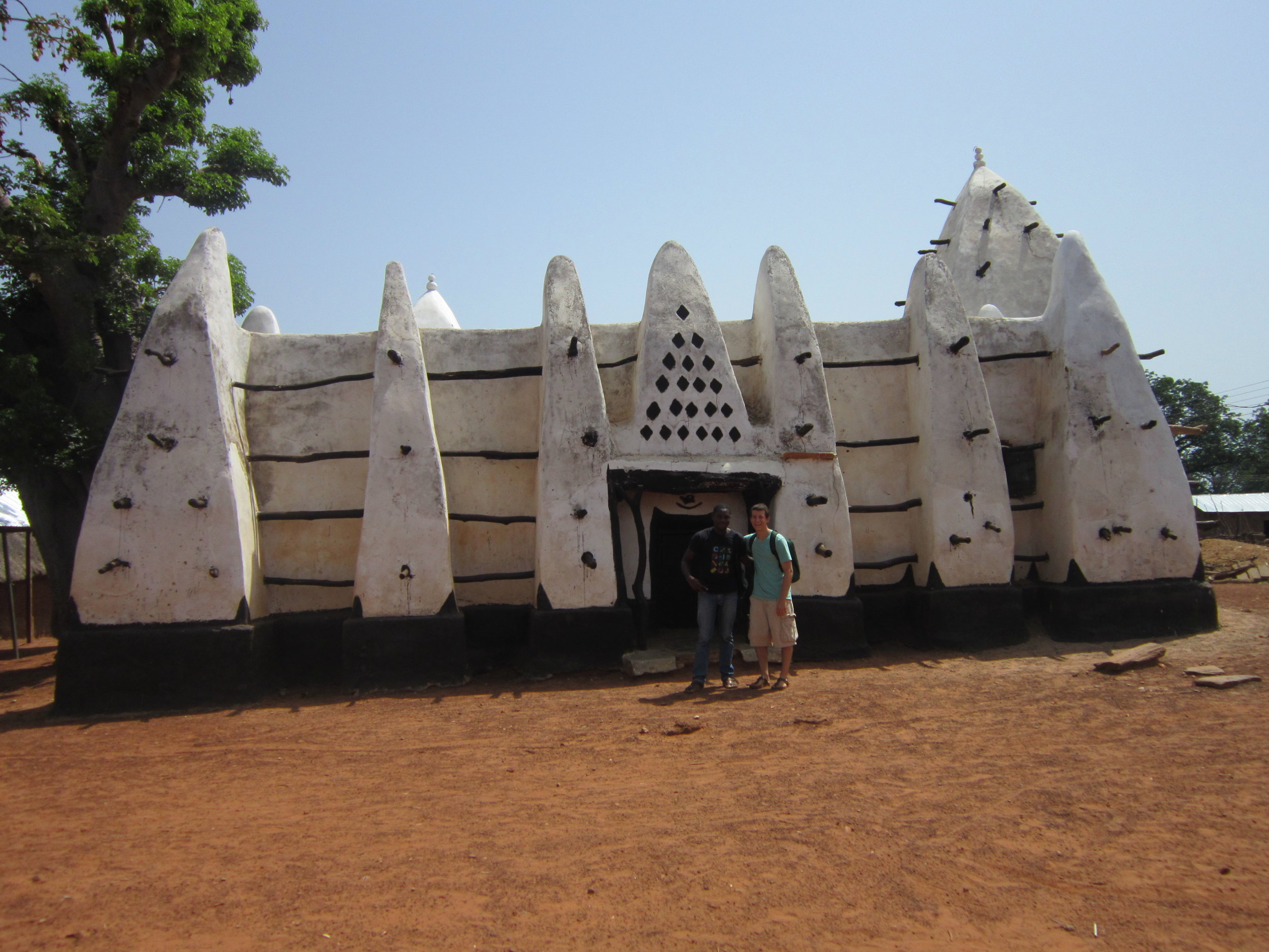 Larabanga Mosque, built in the Sudanese architectural style in 1421. Larabanga Mosque is the oldest mosque in Ghana.