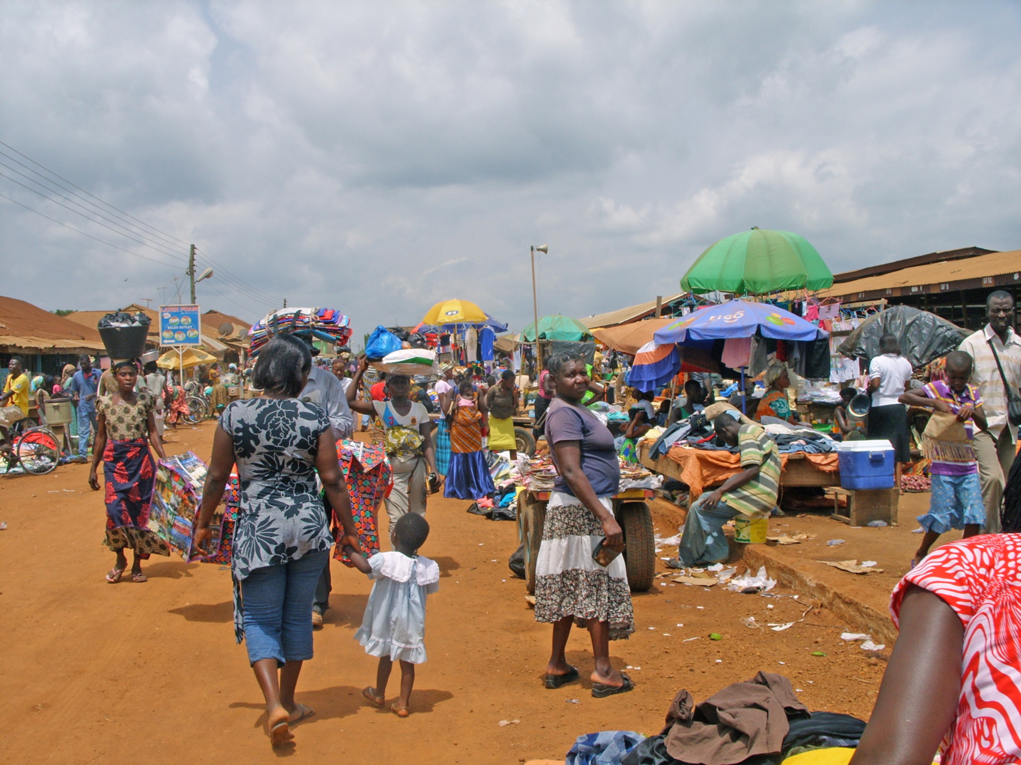 Modern day Sampa Market. Sampa is Ghana's largest town on the border with Cote d'Ivoire, with 26,000 inhabitants.