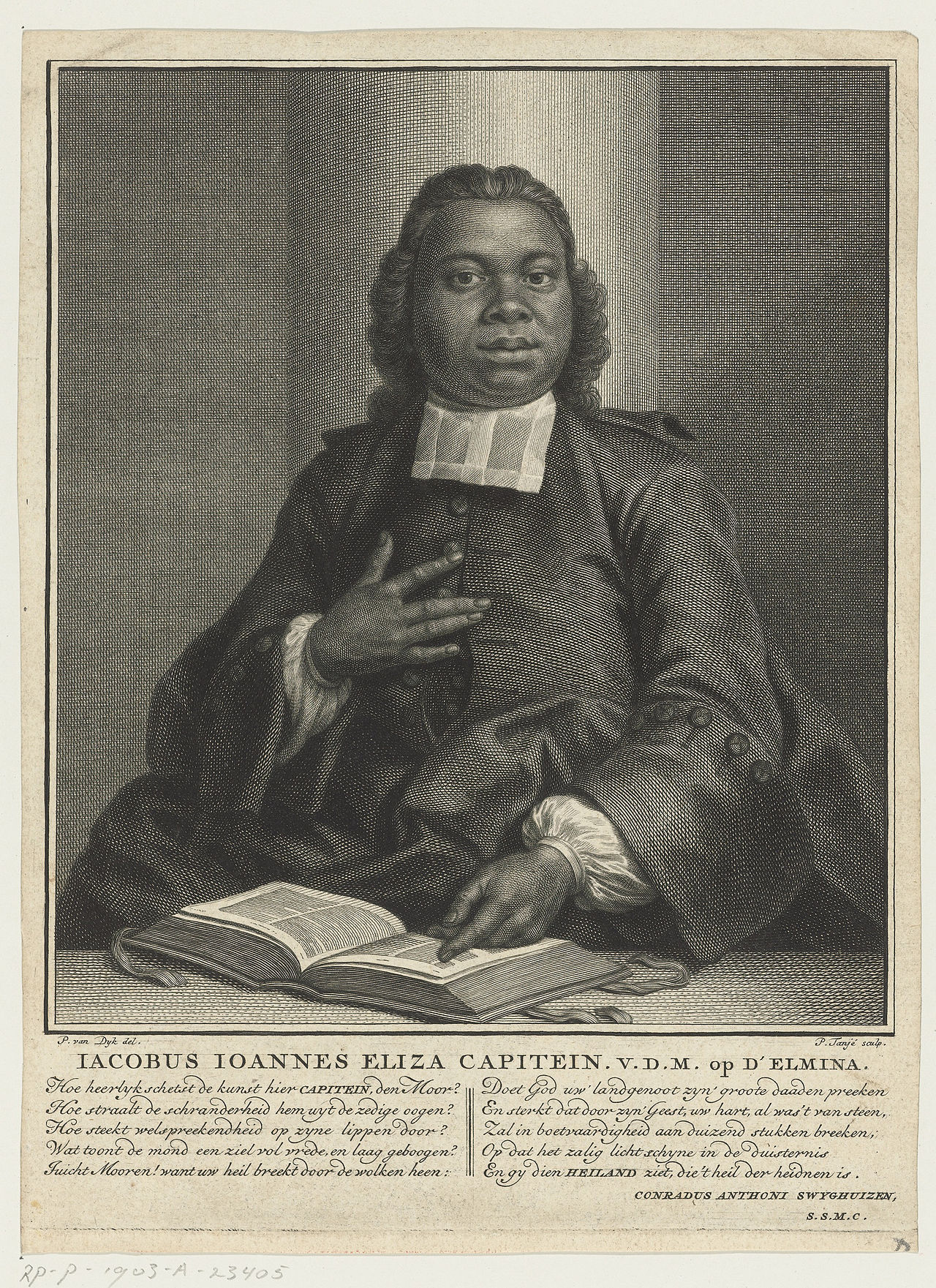 Jacobus Capitein pictured in 1742, at the age of 25