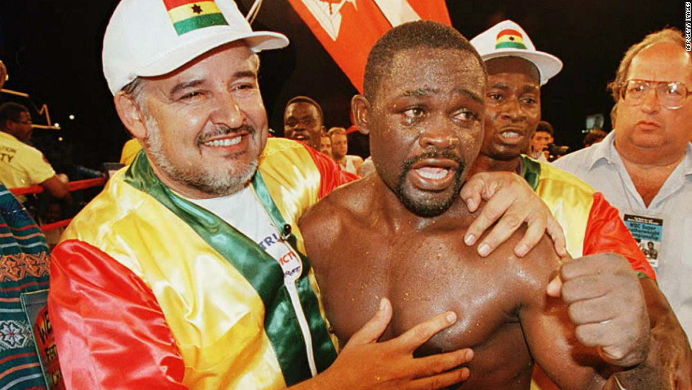 """Azumah """"The Professor"""" Nelson after defending his crown"""