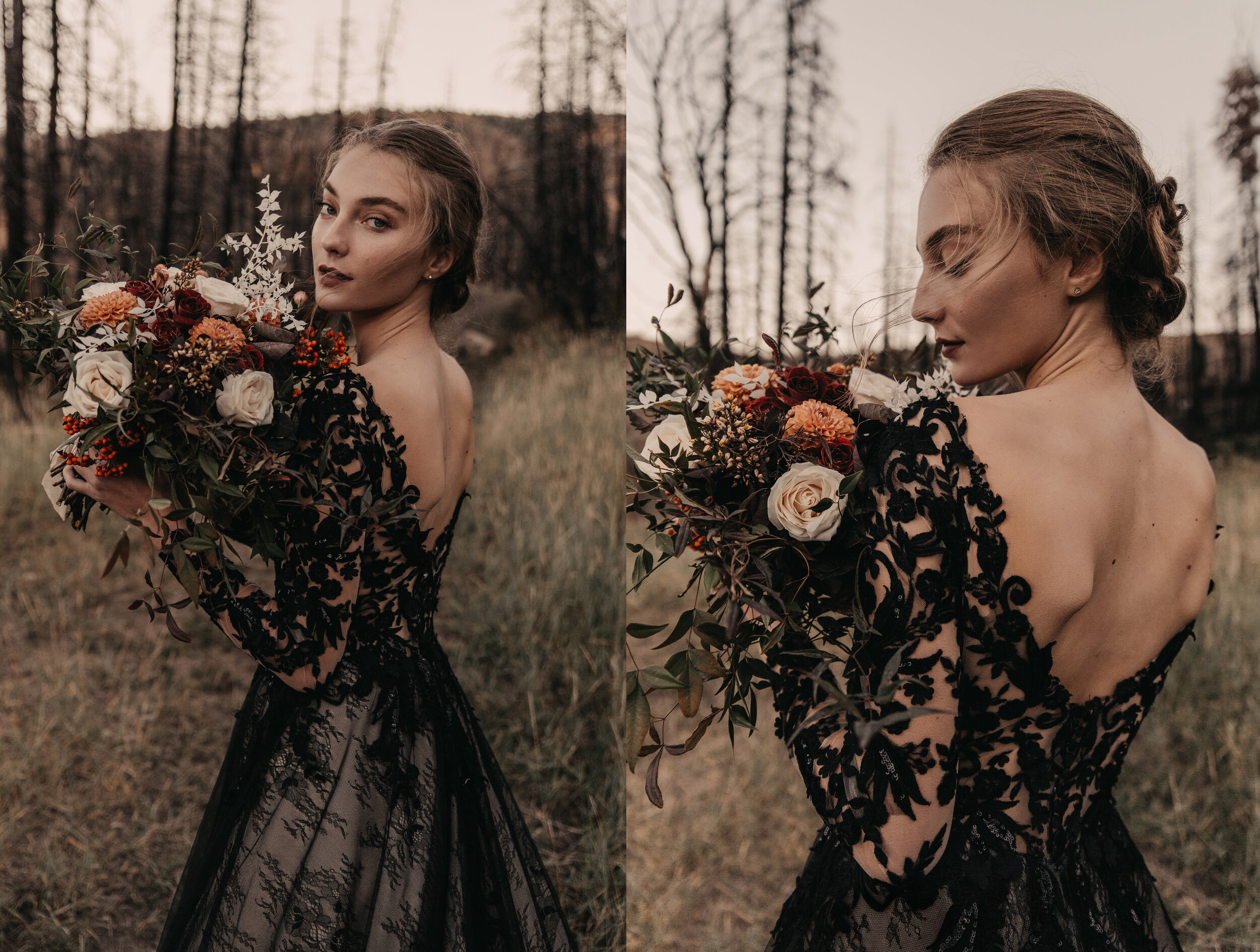 Autumn Bridal Editorial - Black Wedding Dress | Southern California Wedding Photographer