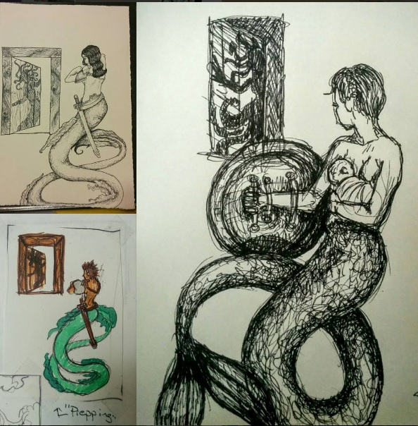 recurring symbols: the mermaid and medusa (two ink drawings and one thumbnail) (2008-2016)