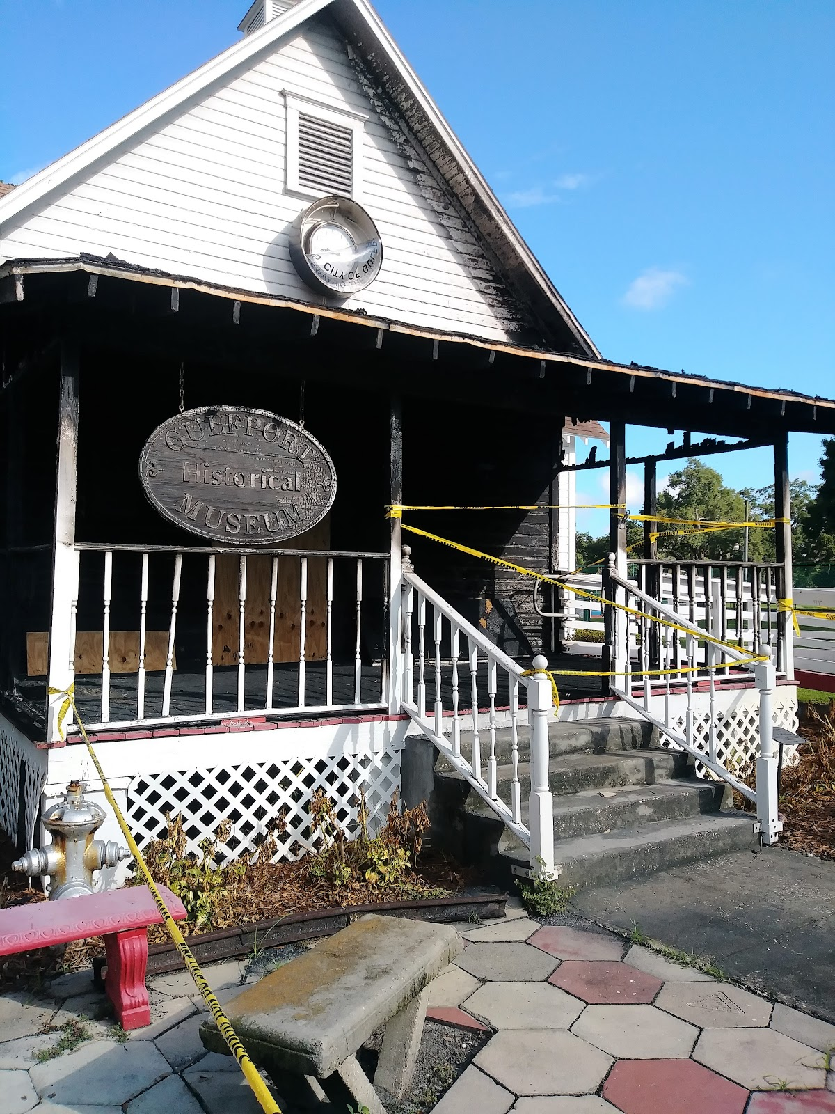 Gulfport Historical Society, After the fire. Artist's contributions will be helpful in restoring the building .