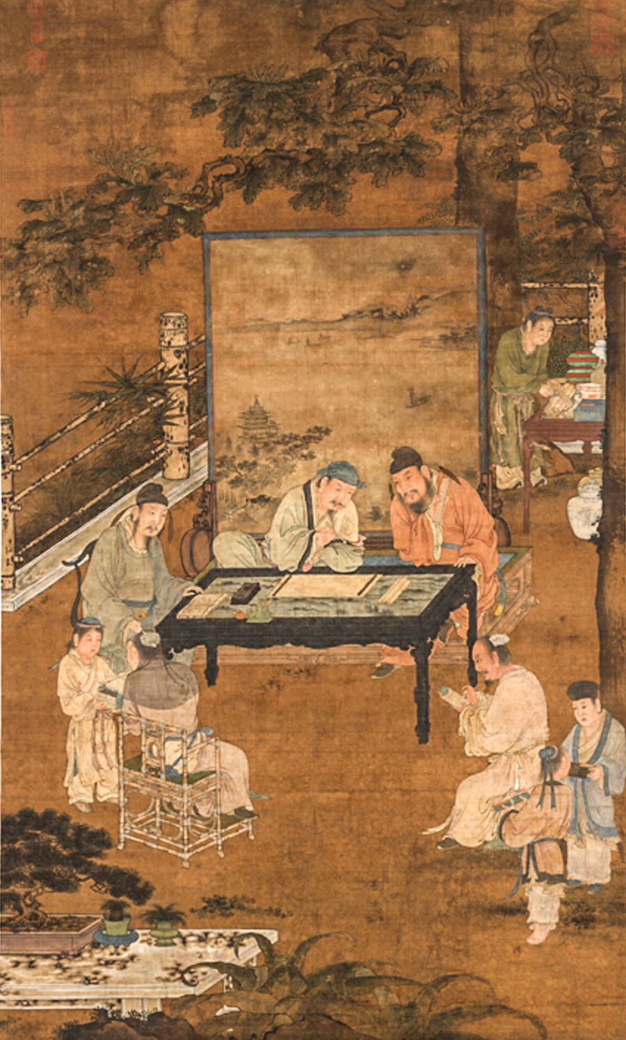 CHINESE SCHOLARS. - Gathering artists to share ideas and innovate is an ancient Chinese concept. Chinese scholars were Renaissance men 2000 years before the word was invented. Musicians, writers, and thinkers, the scholars monopolized the art of painting and calligraphy. They gathered over tea and shared techniques, new tools, and ideas.