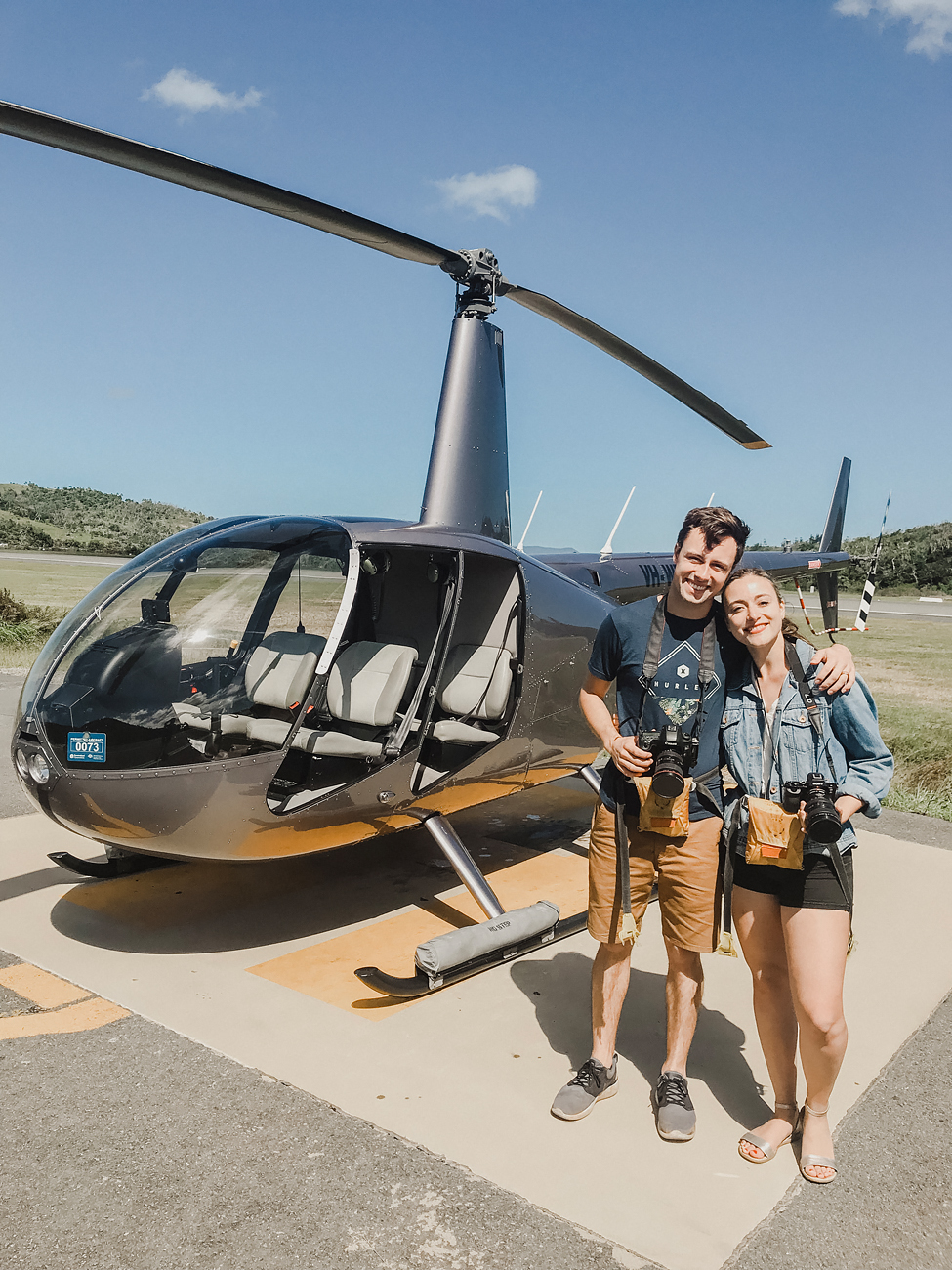Flying in a doors off helicopter on our way to photograph the Great Barrier Reef. Thanks to Hamilton Island Air!