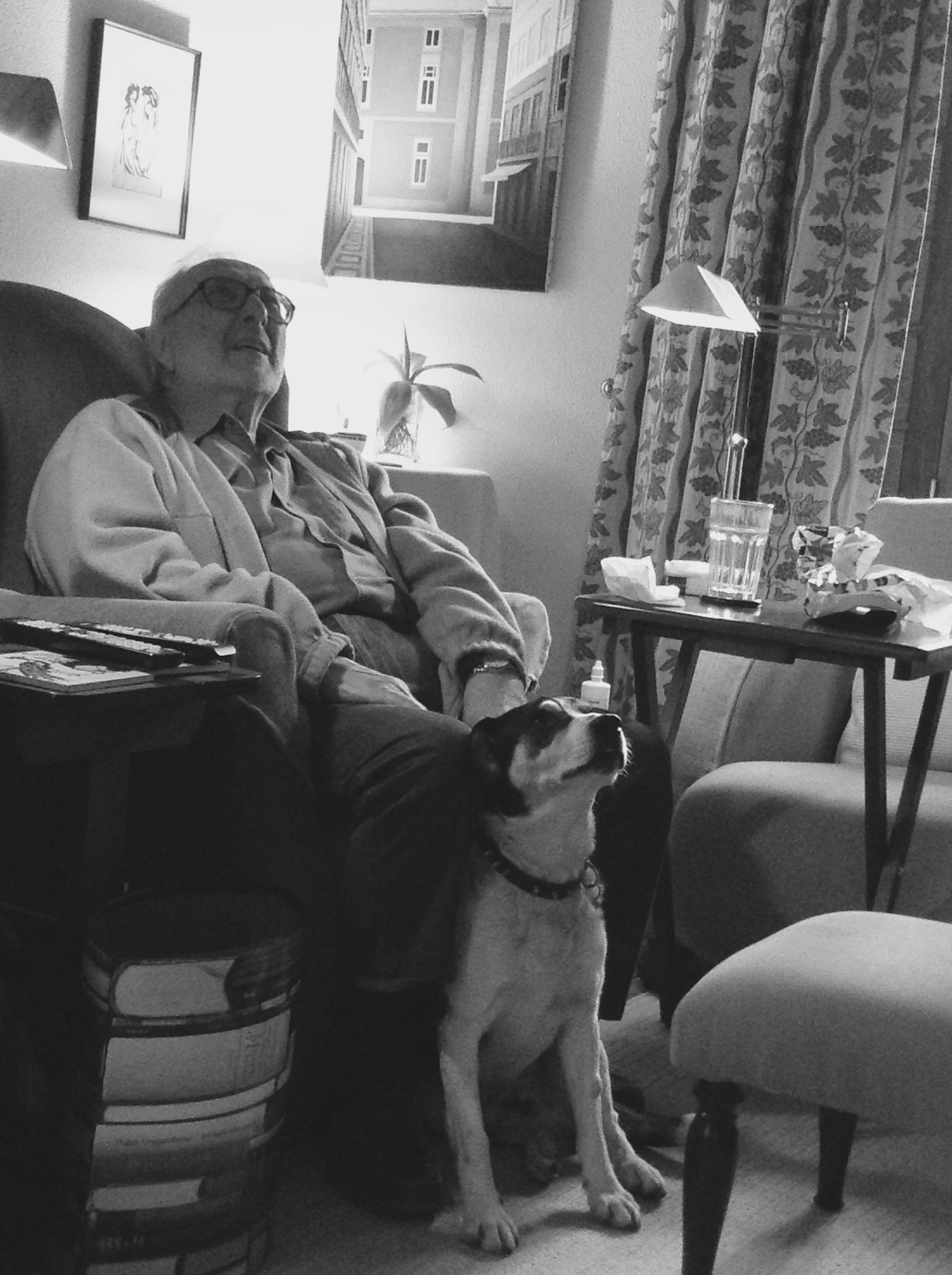 Pedro Tamen e o cão Moisés.Fevereiro de 2014.