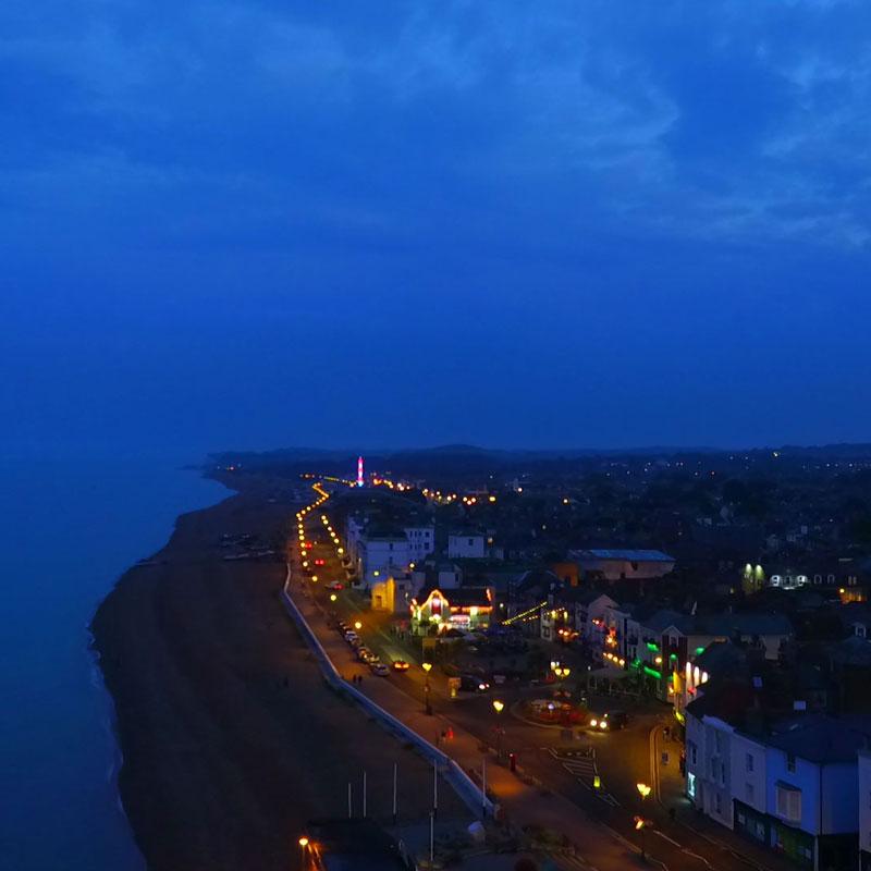 Deal beach at night
