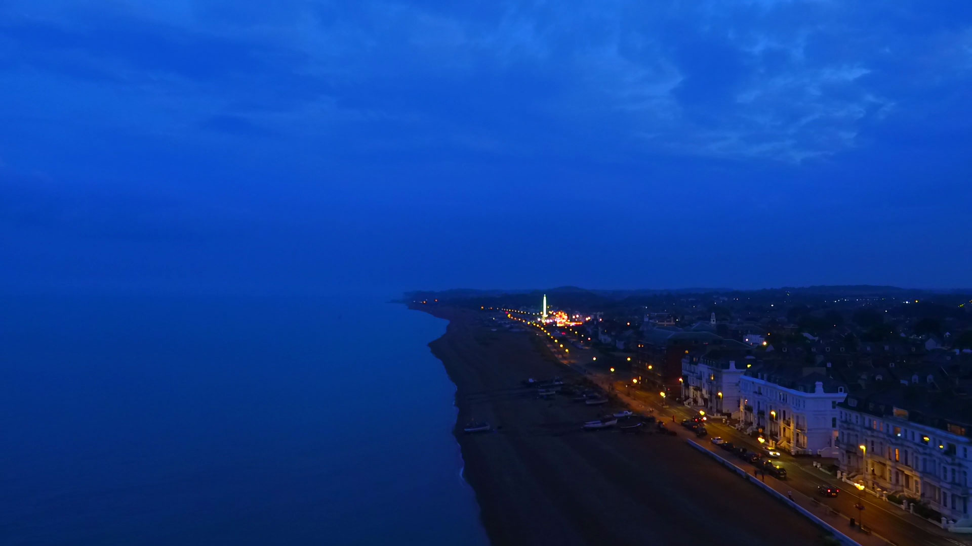 In the hazy twilight the deep blue sky almost merges with the sea to create this moody shot of the Kent coastline. Shot with a Micro four-thirds camera mounted on an Inspire 1 UAV.