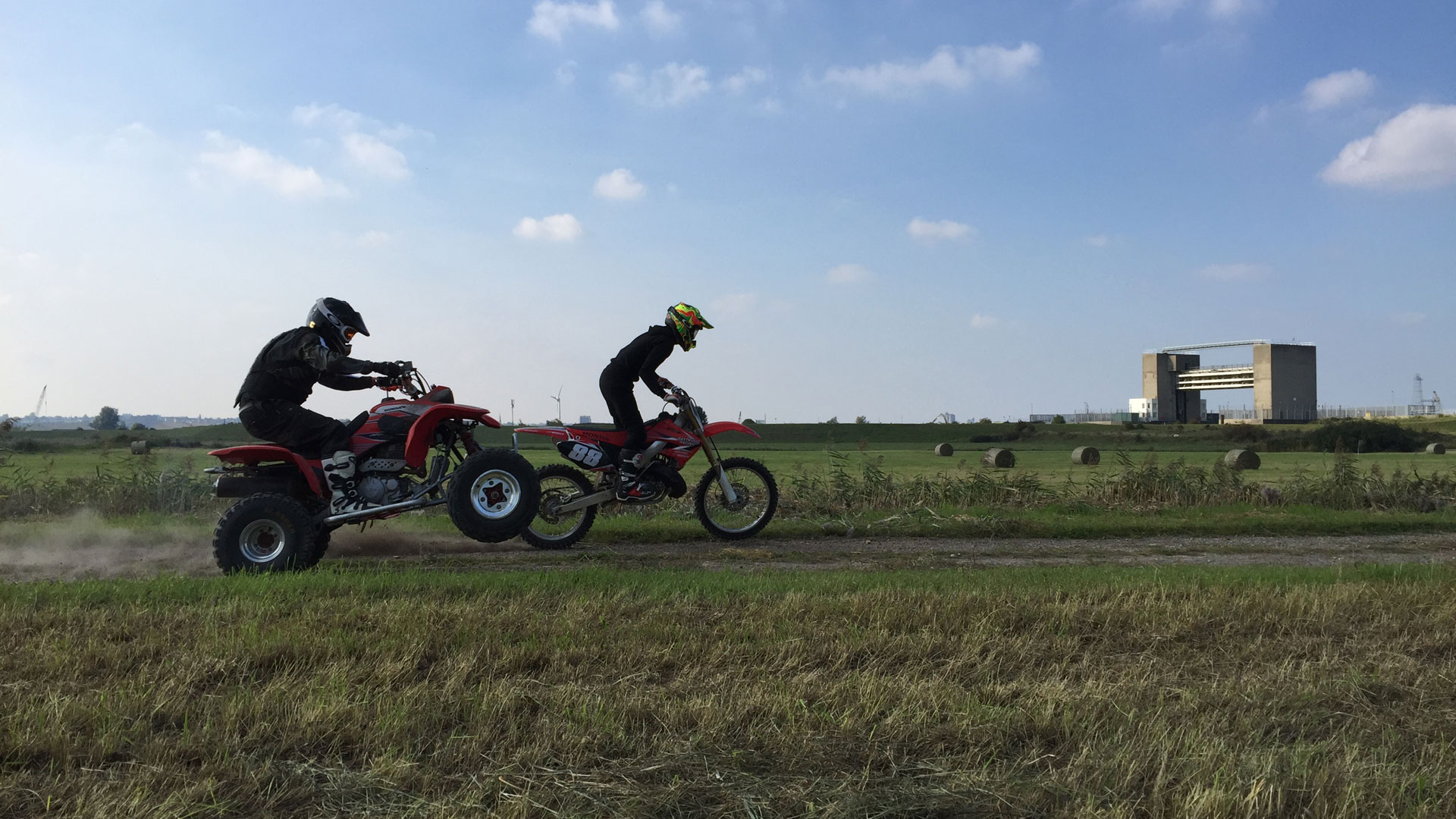 Filming the bike chase sequence