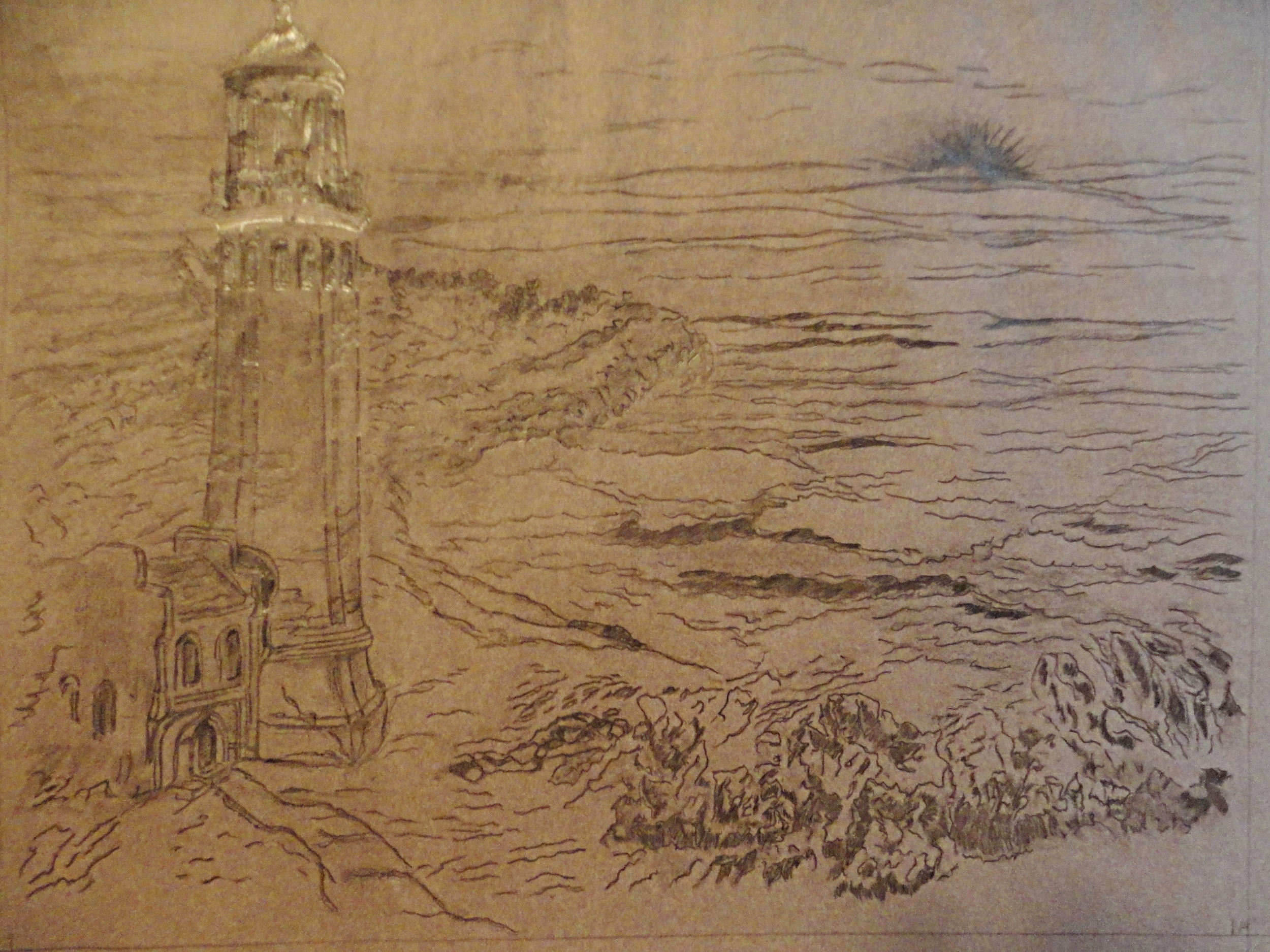 Beginning phase, drawing on tissue