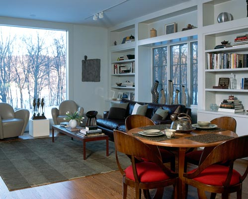 Modern dining table and living room