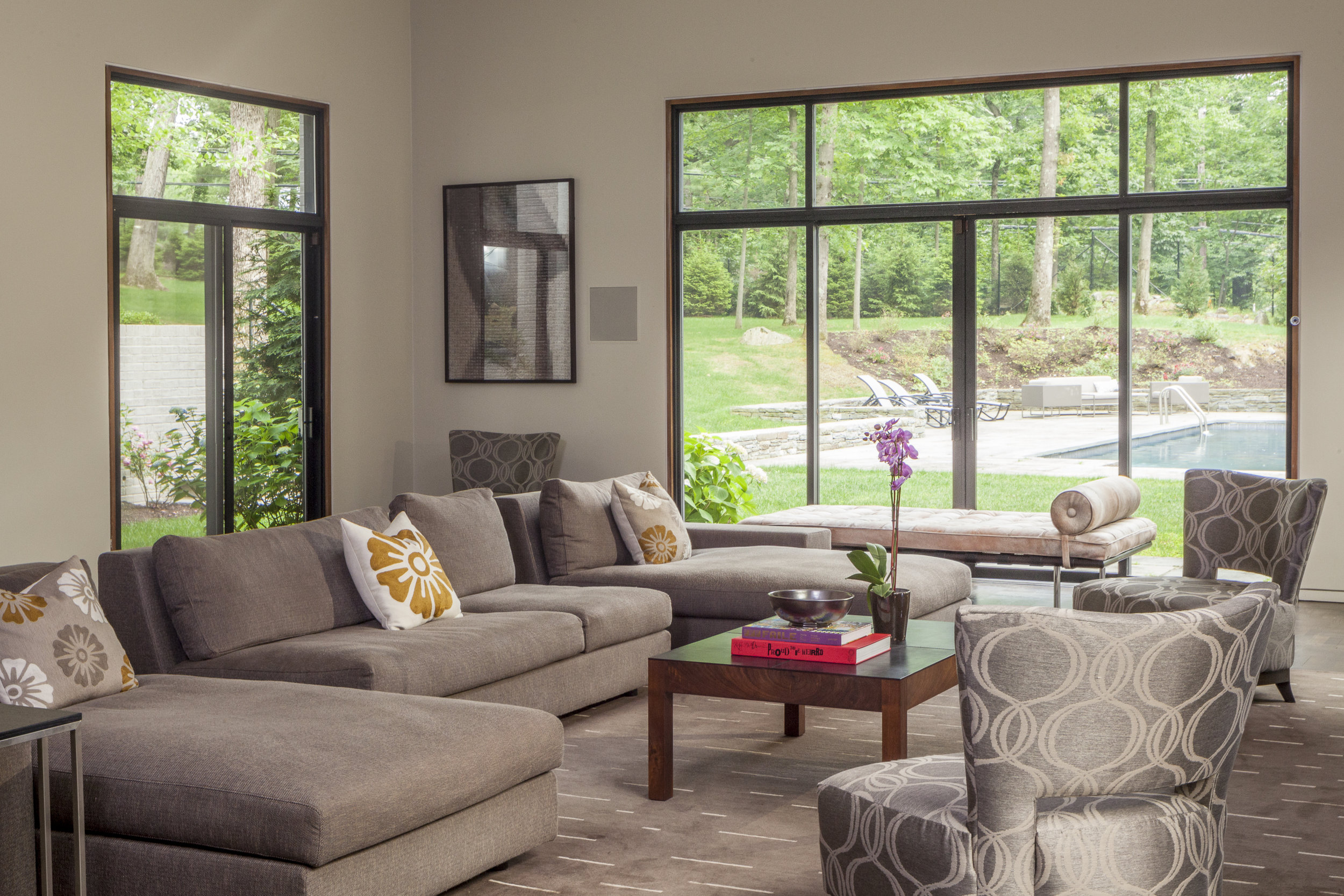 Modern style living room with sofa brown furniture