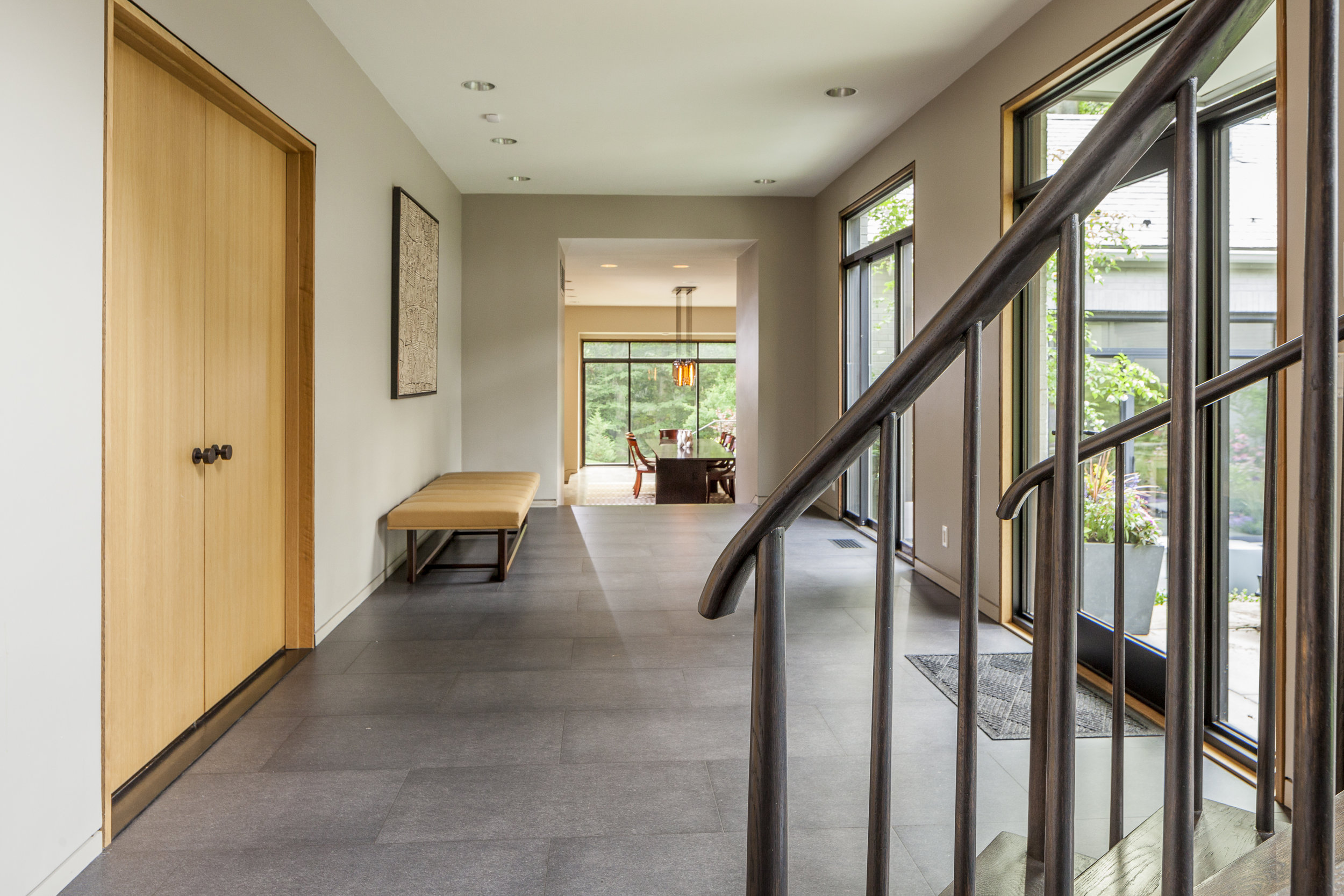 Modern house entry with staircase