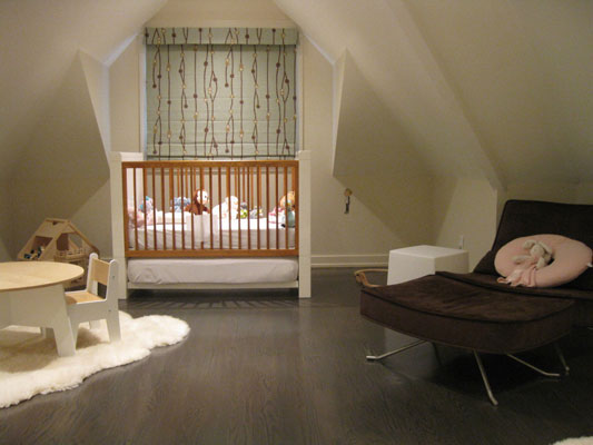 Low light bedroom with baby's crib