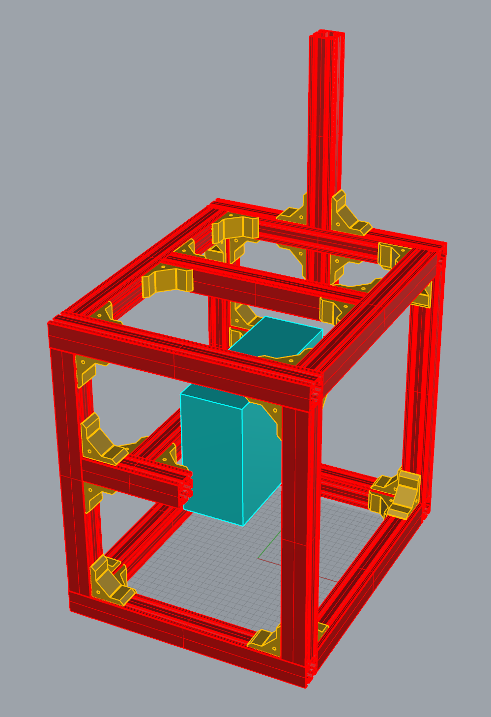 Rough CAD render of DLP printer in Rhinoceros