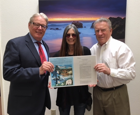 We Founded It! - Senator Bill Monning (author of resolution), CWD! creator Beverly Eyre, and Lorin Letendre of CRWC celebrating the resolution that made California Wildlife Day! possible.Click here to read Beverly's speech from the 2018 inaugural CWD! event hosted by the Carmel River Watershed Conservancy