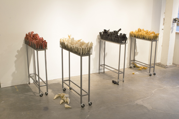 """Goods and Services, 2005, Waxed cloth, welded steel, 4 units, each 40"""" x 10"""" x 38"""""""