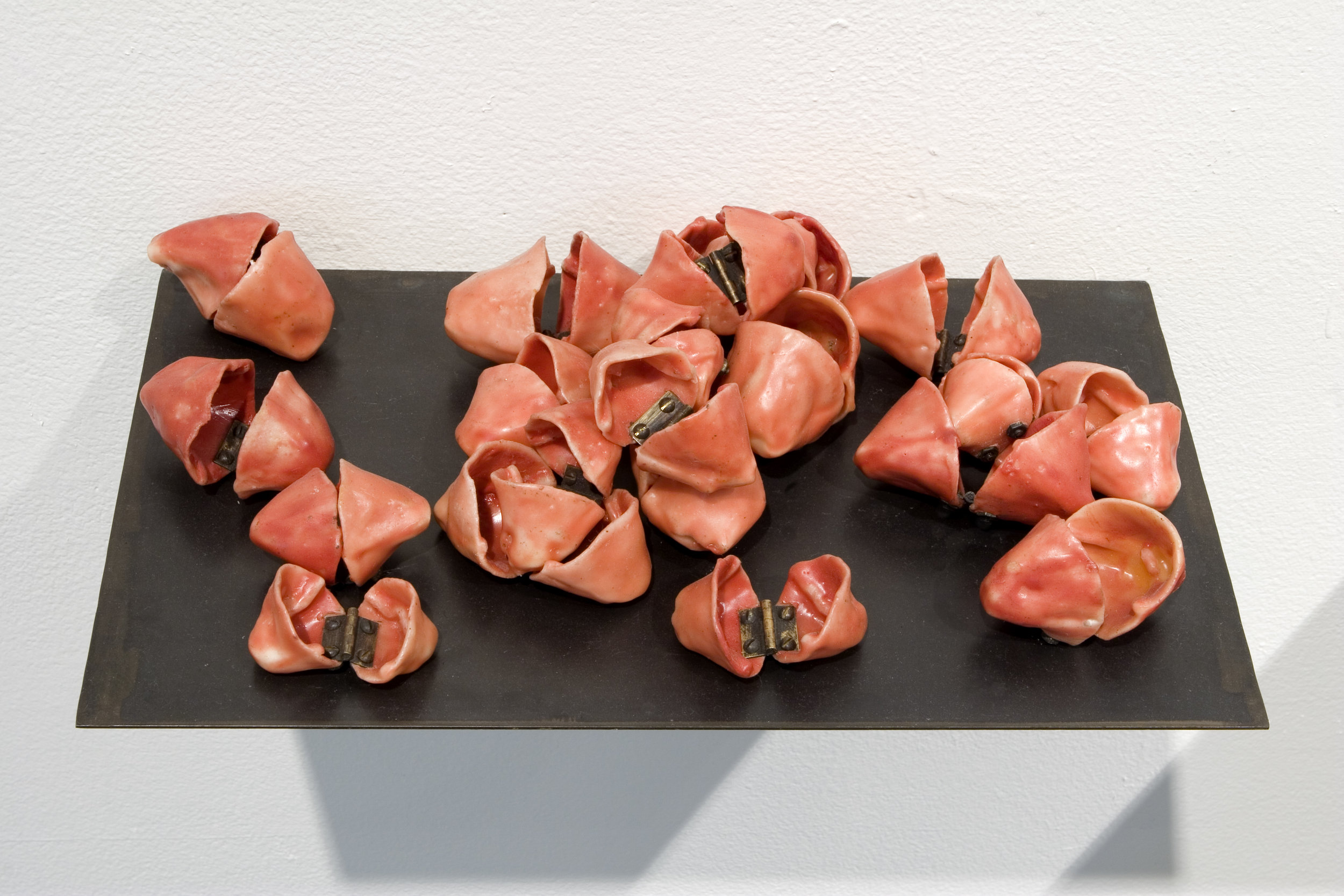 "Interaction, 2005, Waxed cloth, hinges, steel shelf, 12"" x 16"" x 4"""